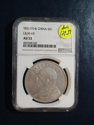 YEAR 3 1914 CHINA SILVER FAT MAN NGC AU53 L&M 63 $1 Coin PRICED TO SELL!