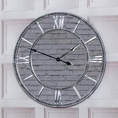 55CM ROUND VINTAGE ANTIQUE MIRRORED ROMAN NUMERALS WALL CLOCK Home Kitchen Style