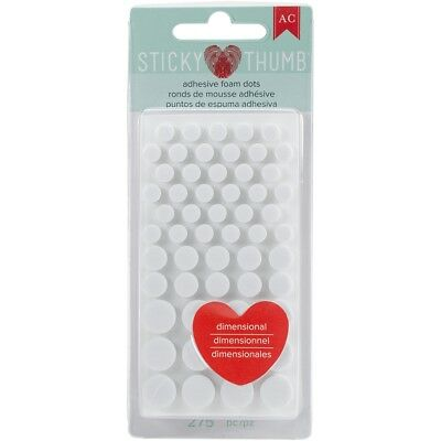 Sticky Thumb Dimensional Adhesive Foam 275/pkg-white Dots, Assorted Sizes