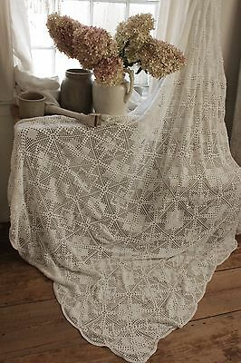 Vintage  French 70X94 crochet textile handmade lace textile bed cover white