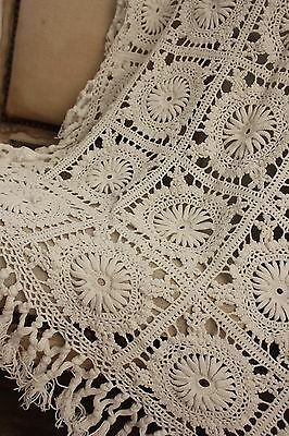 Vintage  French table cover / crochet textile handmade lace textile bed cover