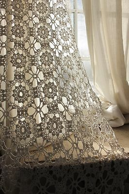 Vintage  French 78X73 crochet textile handmade lace textile bed cover white