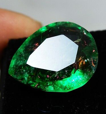 9.55 CT Natural Certified Pear Cut  Zambian Emerald Loose Gemstone RK57 L