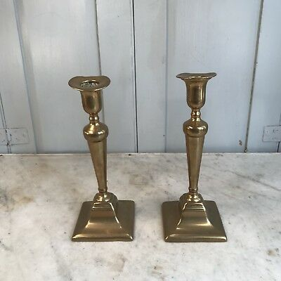 Pair of antique early Victorian brass candlesticks