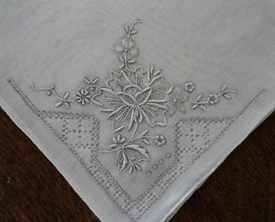 Vintage Set of 2 Madeira Silver Gray Hand Embroidered Hanky Drawn Thread Floral