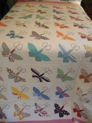 Colorful Vintage 1940's  Applique Embroidered Butterfly Quilt 84 by 94