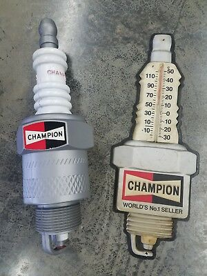 Vintage Champion Spark Plug Store Display And Thermometer