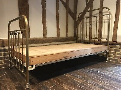 Vintage Antique Victorian Single Brass Metal Bed With Wooden Base On Wheels
