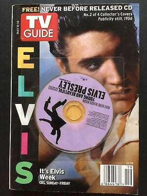"""ELVIS - TV Guide (""""Elvis Week) with Collector's Cover, CD """"Young And Beautiful"""""""