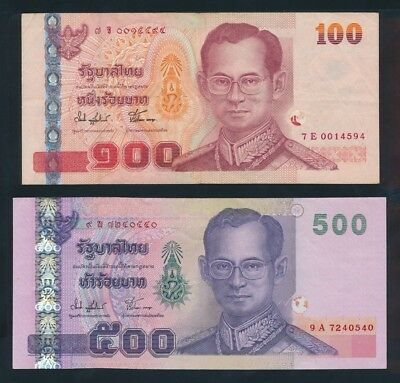 """Thailand: 2001-04 100 & 500 Baht Sig 74 """"KING IN MILITARY UNIFORM"""". Pick 107-113"""