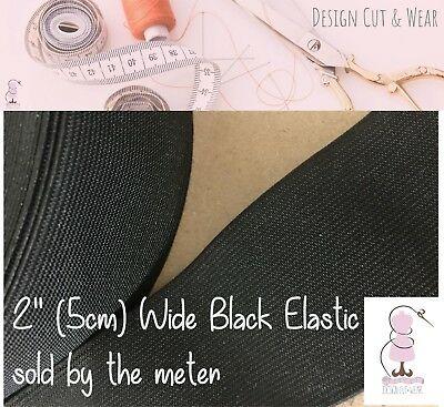 """Black 5 Cm Wide Woven Clothing Quality Elastic - Durable And Washable - 2"""" Wide"""