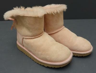 e7e07176b3a KIDS/GIRLS UGG AUSTRALIA 1005497K Pink Suede Mini Bailey Bow Sheepskin Boot  3M