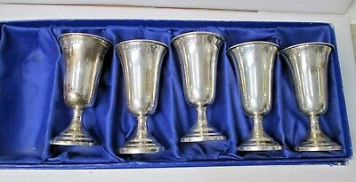 Lot of 5 Sterling Silver Cordial Goblet Liquor Cup Set