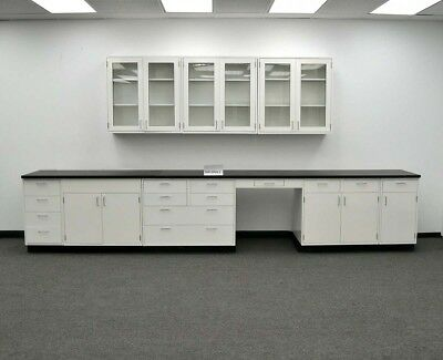 15 Feet of Base and 9 Feet of Upper - Metal Laboratory Casework Cabinets - Used