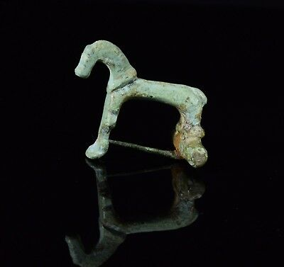 Ancient Roman Bronze Horse Type Brooch / Fibula   - T125