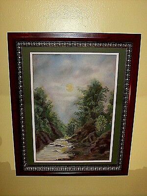 Antique Vintage Original Pastel: Trees Stream Creek Moon Light Forest Landscape