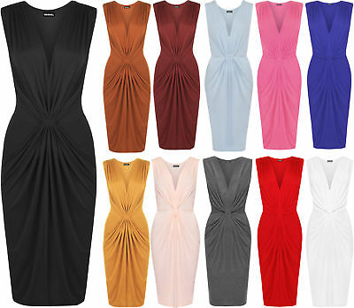 New Womens Ruched Celeb Stretch Bodycon V-Neck Knee Length Ladies Party Dress