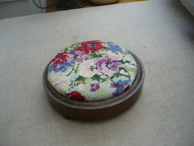 Antique quality circular footstool with embroidered top bun feet stunning