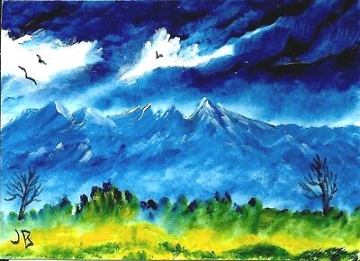 "A JUDITH BOSCH Original Acrylic ACEO Mountains, Birds,Trees ""Mountain Landscape"""