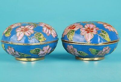 2 Vintage Chinese Cloisonne Jewelry Box Heart-Shaped Handmade Decorative Gift