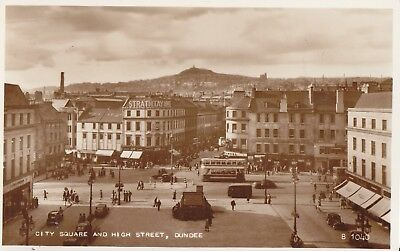 Dundee City Square And High Street Fine Antique Real View Postcard, Valentines