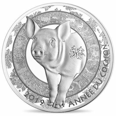 2019 France € 10 Euro Silver Proof Coin Lunar Calendar Year of the Pig Cochon