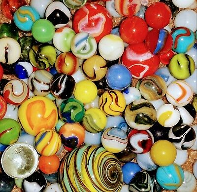 157 Marbles Vintage Hand-Made Antique Mineral Agate Style Akro Peltier MK German