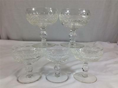 Set of 5 Waterford Crystal Colleen Glasses Champagne Sherbert Short Stem 4 1/2""