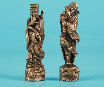2 Unique Chinese Bronze Statue Pendant Solid Fairy Mascot Collection Gift