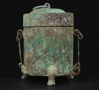 Vintage Chinese Bronze Pendant Wine Bottle Cup Old Collection Gift