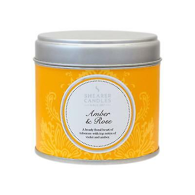 Shearer Candles Amber and Rose Large Scented Silver Tin Candle - White