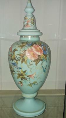 Impressive Beautifully Enamelled Large French Antique Aqua Opaque Lidded Vase