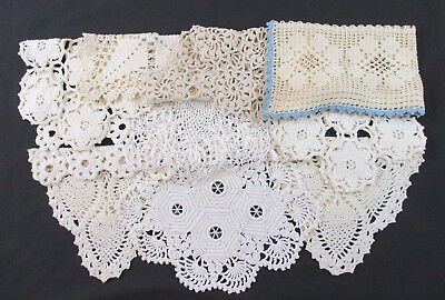 Lot 10 Vintage Hand Crochet Crocheted Doily Doilies ALL Squares & Rectangles EXC