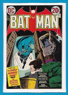 """Batman #250_July 1973_Very Fine Minus_""""the Deadly Numbers Game""""_Bronze Age Dc!"""