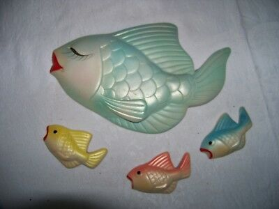 Lot of 4 Vintage Pink Fish w 3 Baby Fish Set 1960s Sculpture Chalk Wall Hanging