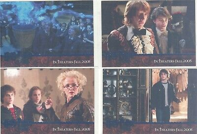 Harry Potter And The Goblet Of Fire 4 Card Blue Foil Promo Set
