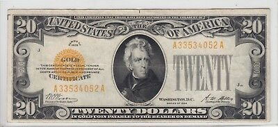 1928 $20 Gold Certificate Note Very Fine VF A33534052A