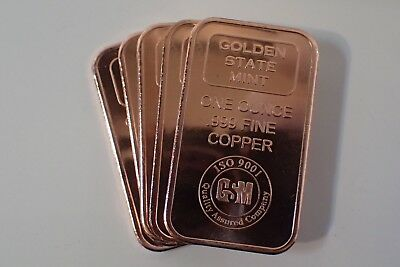 Golden State Mint 1 Ounce 999 Copper Bullion Bar - LOT of 5