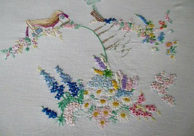 Vintage Tablecloth Hand Embroidered Thatched Cottages&flowers
