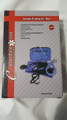 Adult Manual Blood Pressure Cuff AND Stethoscope Blue Medical Sprague BP Monitor