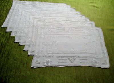 8 Antique Place Mats - Hand Embroidery-Linen