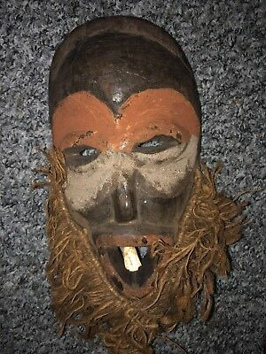 Antique Vintage Hand Carved Wooden African Witch-doctor Tribal Mask