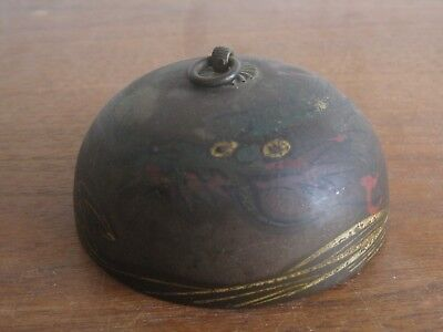 Fine Old Antique Chinese Brass Bronze Etched Dragon Buddhist Temple Bell Chime