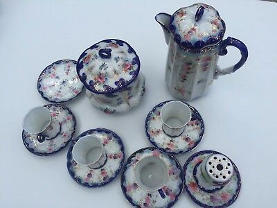 Vintage NIPPON Hand Painted Japanese Chocolate Coffee Tea Set, Cobalt Blue &Gold