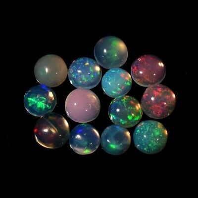 13pcs Lot 2.11ct Round Cabochon Natural Play-of-Color Crystal Opal
