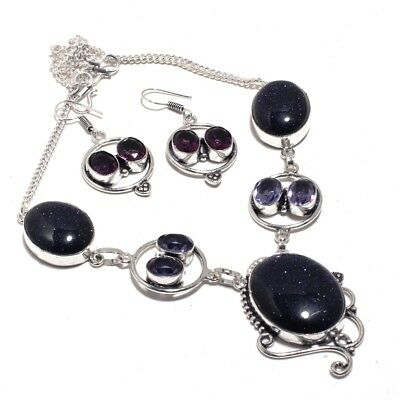 Blue Sun Stone,Amethyst Handmade Necklace+Earrings 45 Gms LN-14262