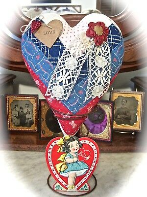 HEART from 1880-1890s QUILT~LOG CABIN PATTERN~AMAZING PRINTS~ALL HAND DONE~SWEET