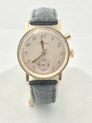 1940's Rare Longines Single Button Flyback Chronograph Ref. 3318 Men's Watch