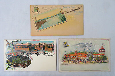 3 Advertising Postcards - Different Breweries