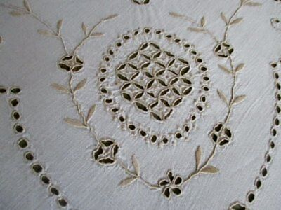 """ANTIQUE MADEIRA TABLECLOTH-HAND EMBROIDERED-LINEN-40""""sq."""